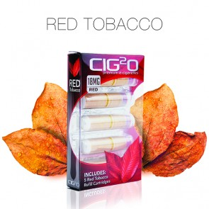 Red Tobacco Refill Cartomizers 5-Pack Polybox by Cig2o